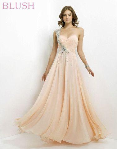 Blush Prom 9760 One-Shoulder Chiffon Gown – Sharing Elegance | Kayla ...