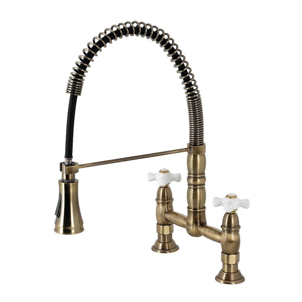 Heritage Two Handle Deck Mount Pull Down Sprayer Kitchen Faucet In 2021 Brass Kitchen Faucet Bridge Faucet Kitchen Kitchen Faucet