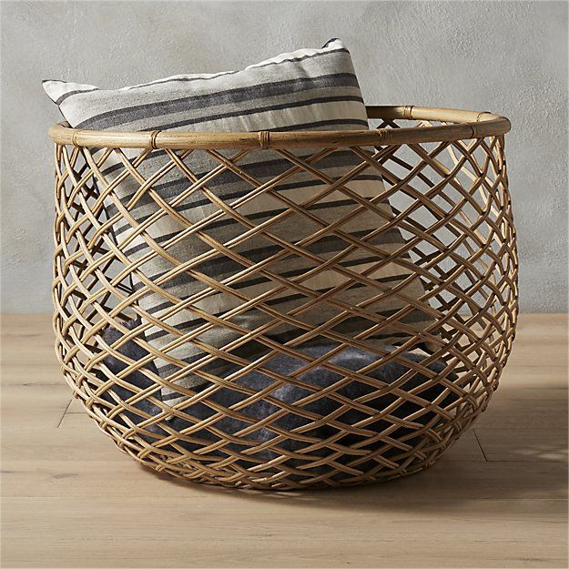 Shop Crossover Natural Basket Oversized Rattan Basket Stores Blankets Towels We Really Love It In The Bathroom Books Magazines T With Images Basket Vintage Baskets