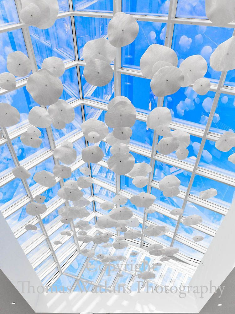 iWorks produced the light columns and the art installation on the ceiling | Made in LA | Custom Made by iWorks