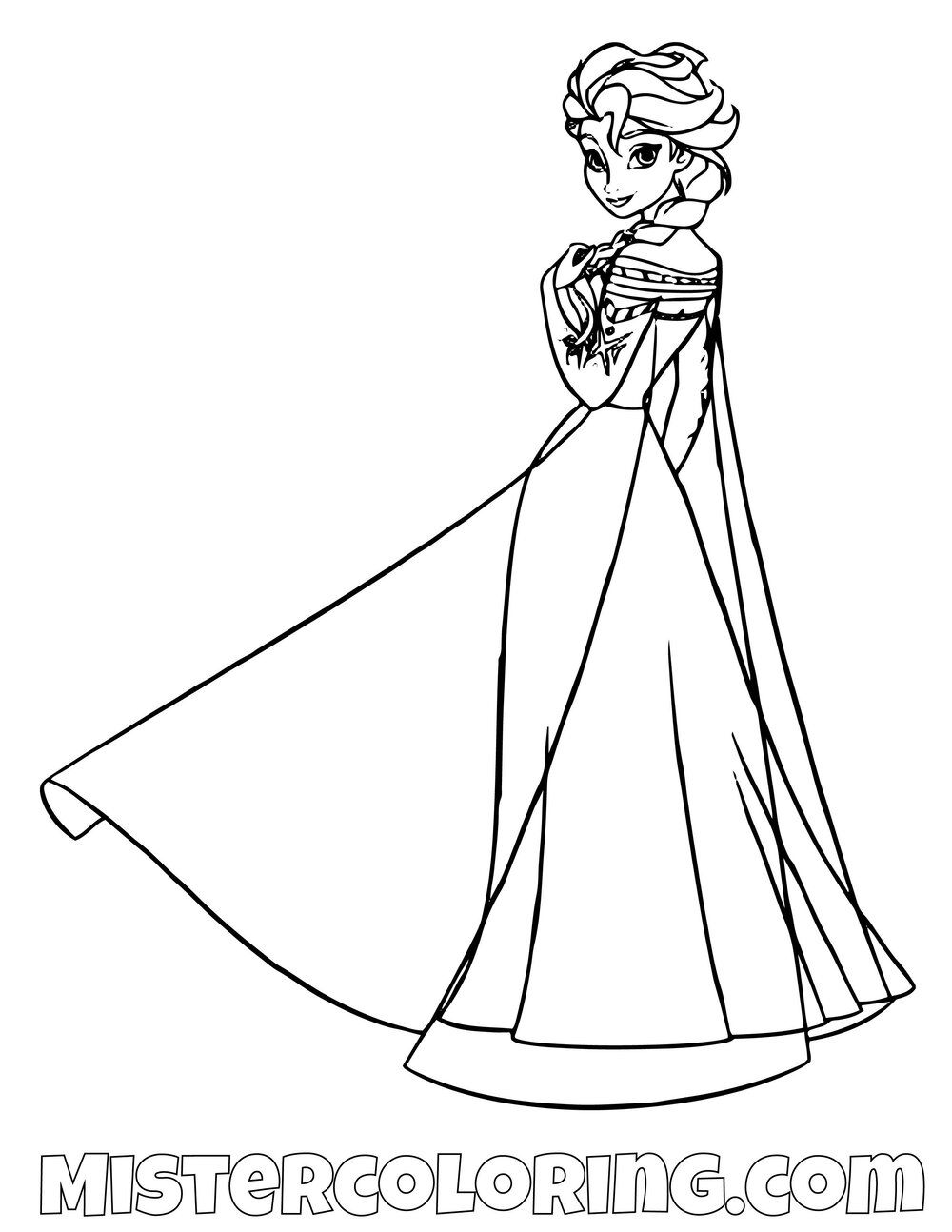 Queen Elsa Dress Frozen 2 Coloring Pages For Kids Coloring Pages Coloring Pages For Kids Disney Coloring Pages