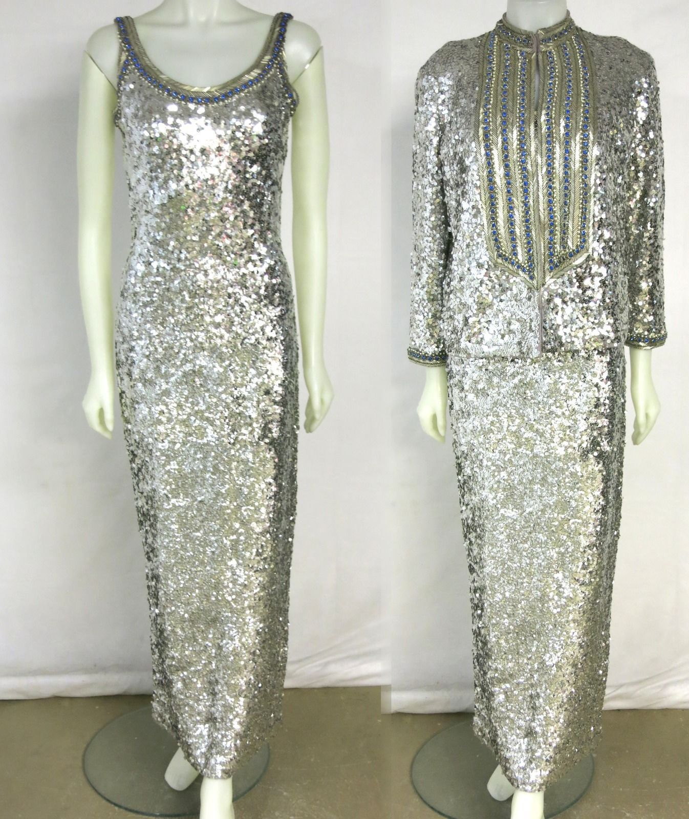Vtg s all silver sequins blue stones pearls formal dress