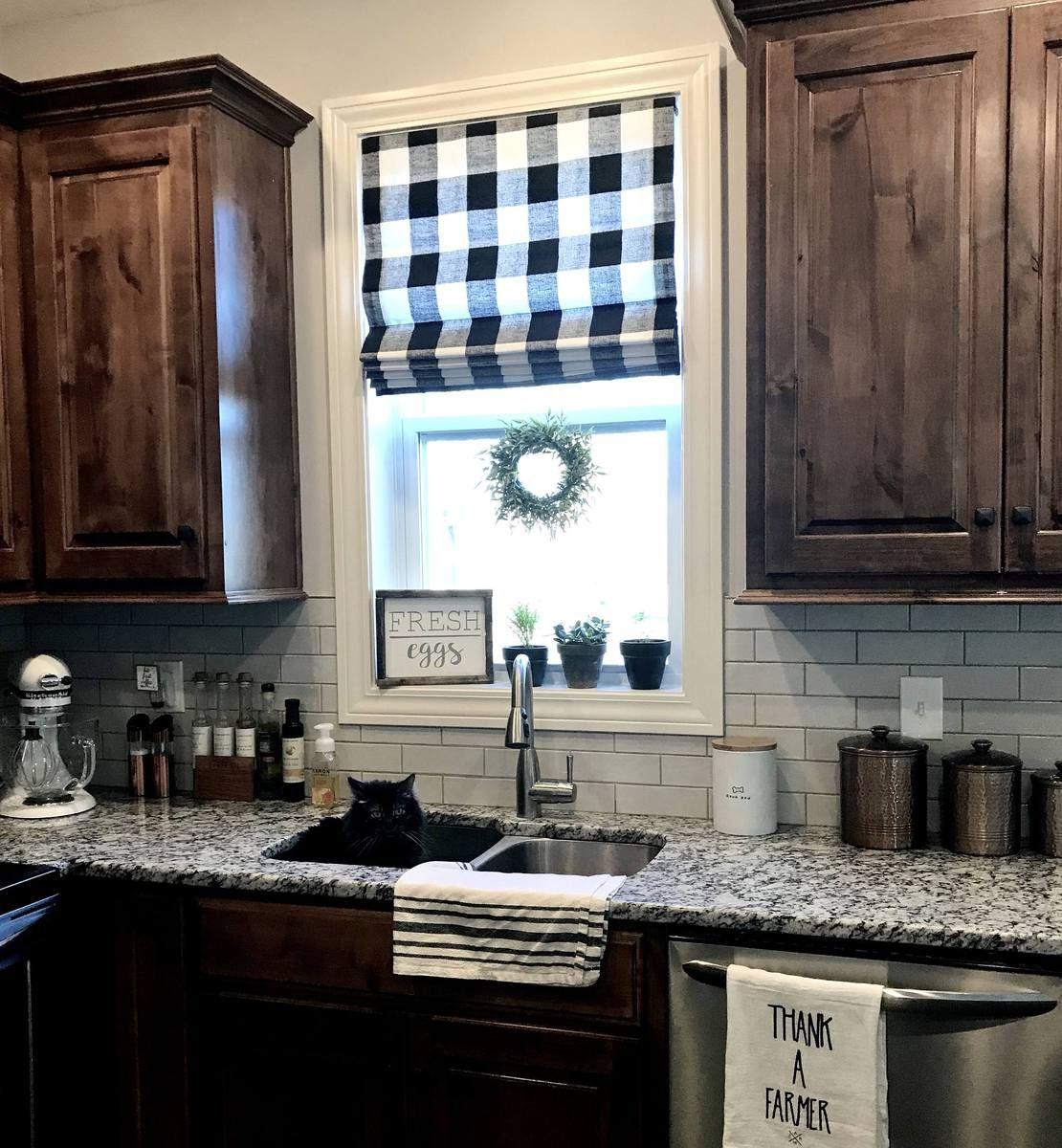 Farmhouse Kitchen Dark Cabinets: Modern Farmhouse Roman Shades QUICK SHIP Buffalo Plaid