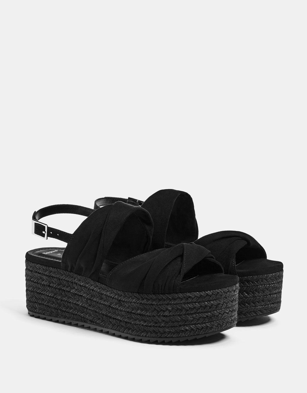 b50a8c3c63ed Black jute platform sandals in 2019