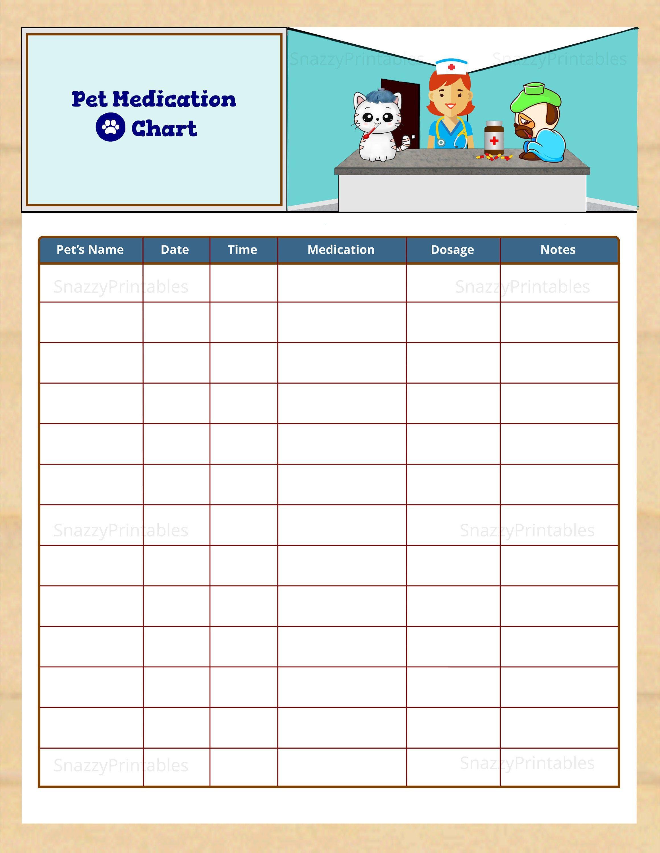 Pet Medication Chart Printable Dog Medication Log Cat Etsy Pet Medications Medication Chart Printable Medication Chart Pet medical records template download