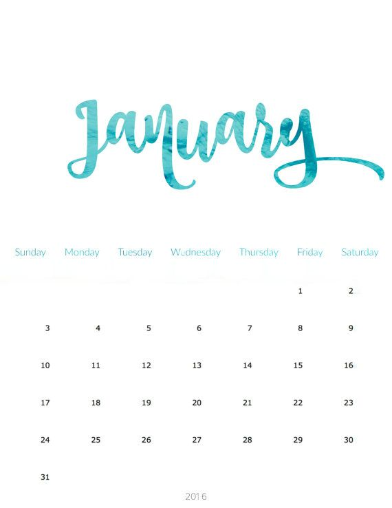 2016 Printable Calendar \u003e\u003eLetter Size 85 x 11 \u003e\u003eEditable \u003e\u003eInstant - Perpetual Calendar Template