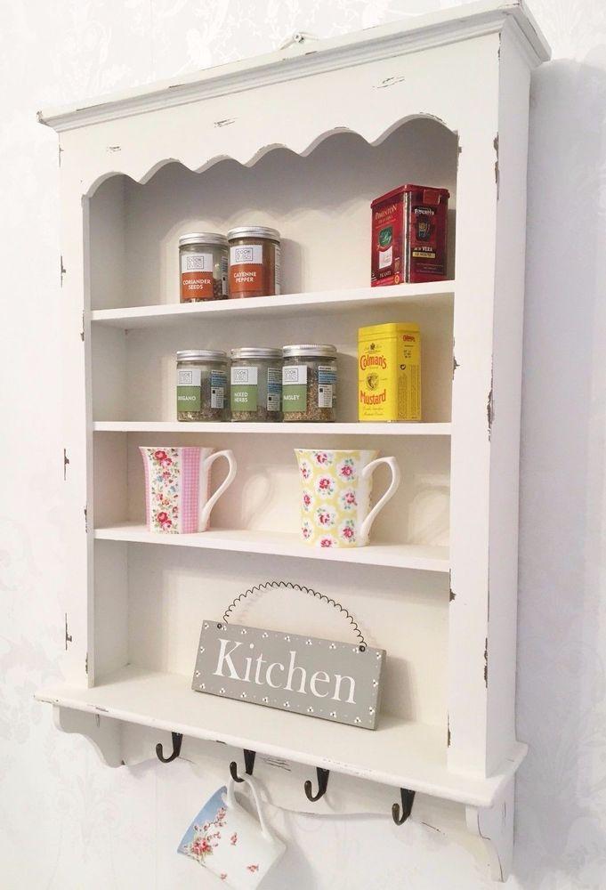 Detalles De Shabby Chic Wall Shelf Cabinet Unit Cupboard Storage French Vintage Kitchen Estante De Pared Vitrina De Pared Estanterias Colgantes