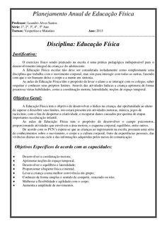 Planejamento Anual De Educacao Fisica Professor Leandro Alves