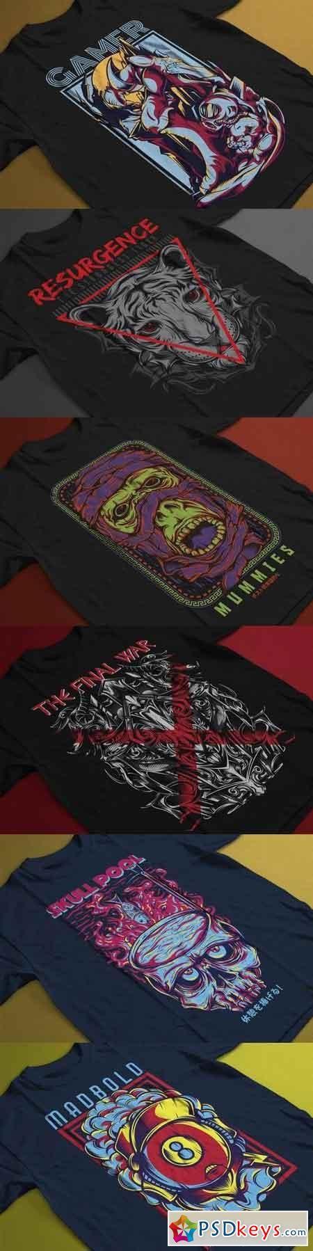 T-Shirt Design Template Bundle   psd keys   T shirt design template