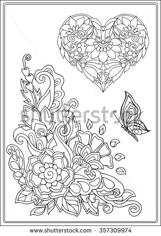 Decorative Love Heart With Flowers And Butterflies Valentines Day Card Coloring Book For Adult Older Children Page Outline Drawing Vector