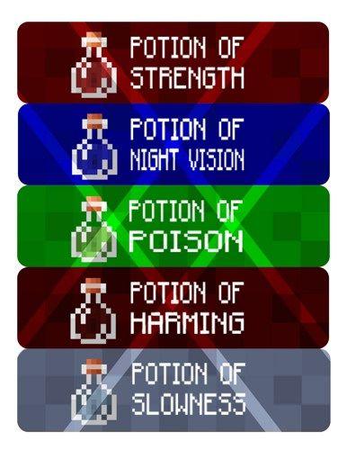 Mine Party Potion Labels Water Bottle Labels Digital File