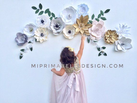 blush party backdrop wedding arbor flowers ivory party decor gray flower wall paper flower