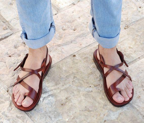 074d90b9f5e09 brown leather sandals Jesus sandals handmade sandals men | HolySouq ...