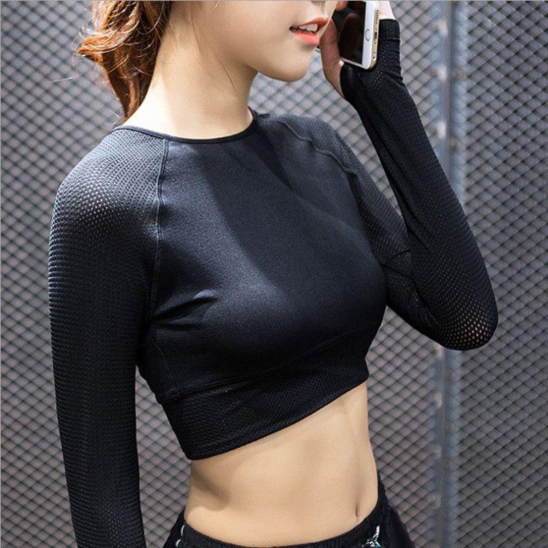 Top Longues À Shirt de Mesh Fitness T Transparent Shirt Yoga Et Patchwork T 2016 Manches Automne Crop Printemps Sport Femme Yq7w7nS8B