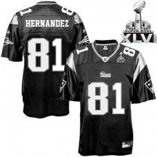 4a74c3a68 Patriots  81 Aaron Hernandez Black Shadow Super Bowl XLVI Stitched NFL  Jersey