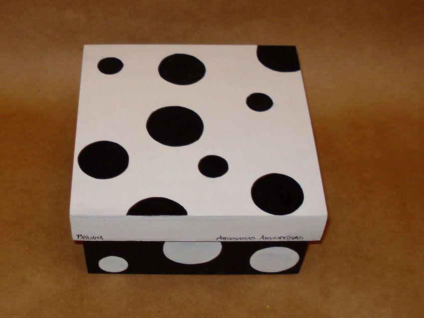 Cajas decoradas con circulos pintura sobre madera - Manualidades con cajas de madera ...