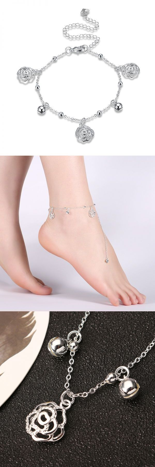 Rose and bell pendant silver plated adjustable anklet women jewelry