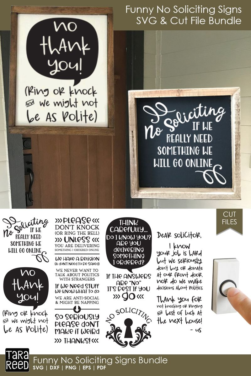 No Soliciting Signs - SVG and Cut Files for Crafters