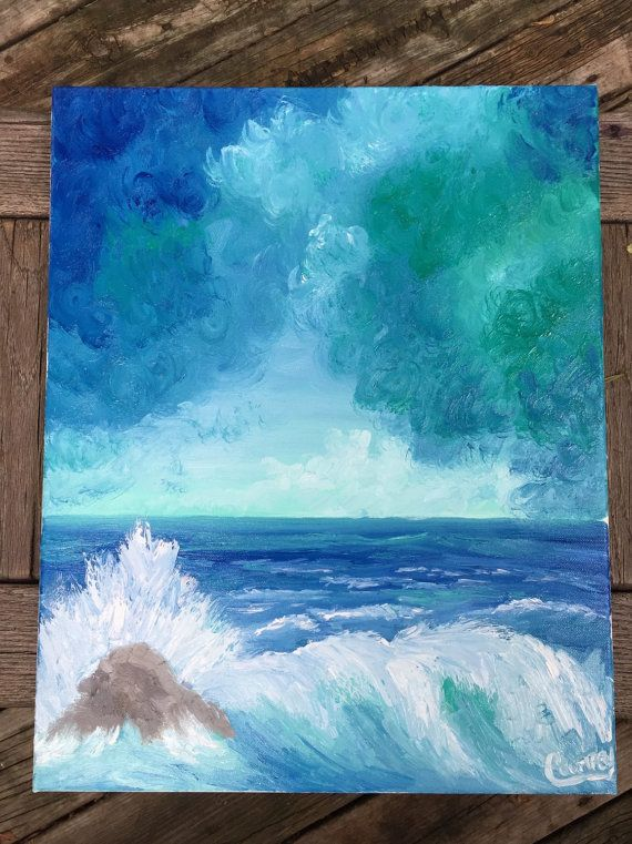 GICLEE Print Blue Green Stormy Lake Oil by CourtneyPiersonArt