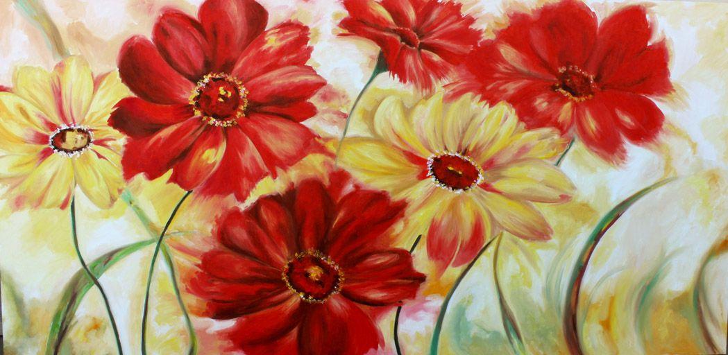 quadri fiori moderni dipinti ad olio su tela rossi e gialli | Ideas ...
