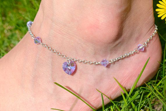 Lavender Heart Anklet Swarovski Crystal Heart Ankle Bracelet