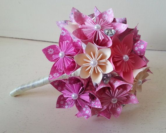 Paper Flower Origami Bouquet Wedding Crystals Custom Made All