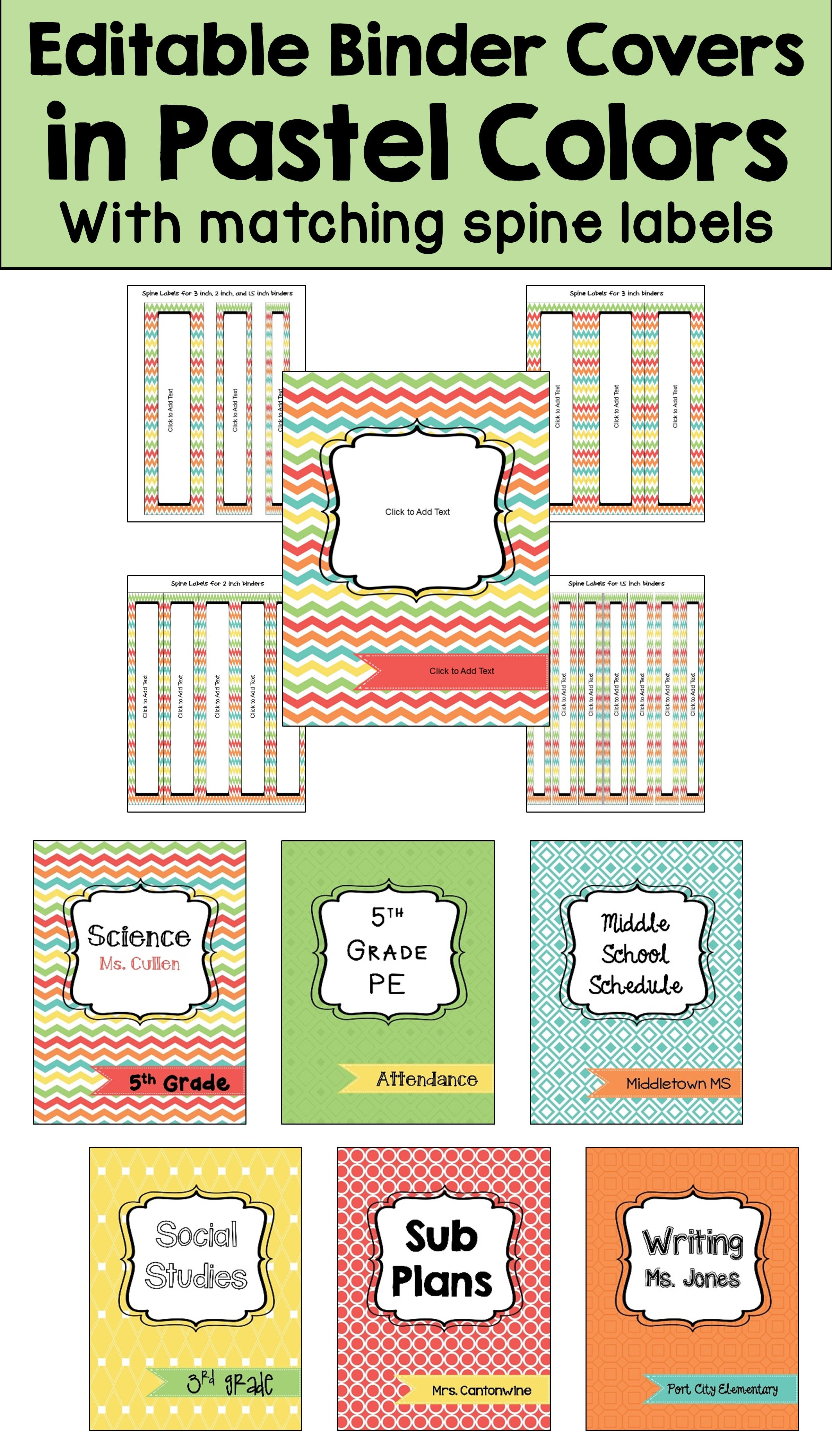 Editable Binder Covers And Spines In Pastel