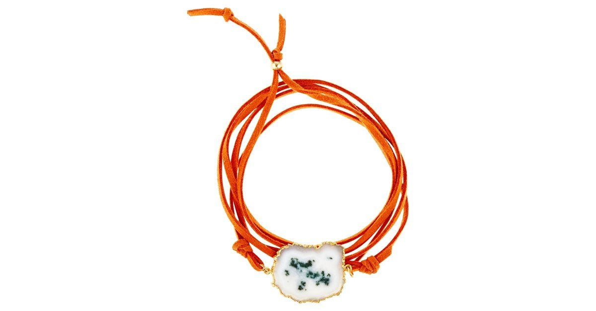 An earthy geode is beautifully paired with an orange suede cord. Funky and casual, this design is the perfect piece. Handmade in the USA.Rachel Reinhardt has been creating stunning jewelry since...