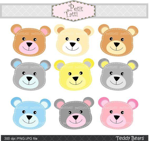Digital Clip Art Teddy Bears Headstitch Teddy Bear By Petittatti 3 00 Clip Art Baby Clip Art Digital Clip Art