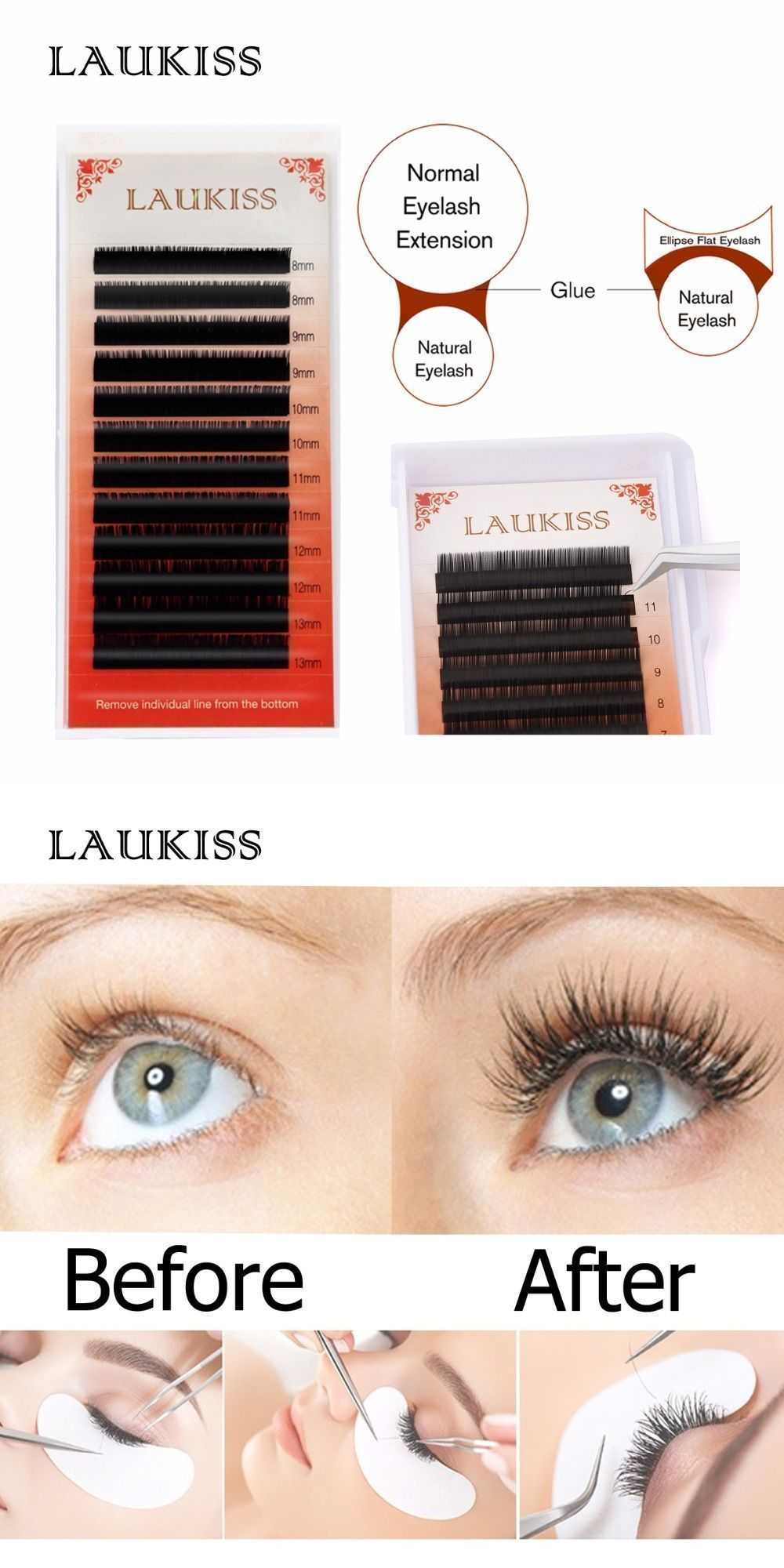 4ba98c4a0f2 12Lines/Case C D Curl Flat False Eyelash Extensions Mix 3D 6D Make Up Professional  Soft Silk Permanent LAUKISS Fake Eyelashes #eyelashextensions