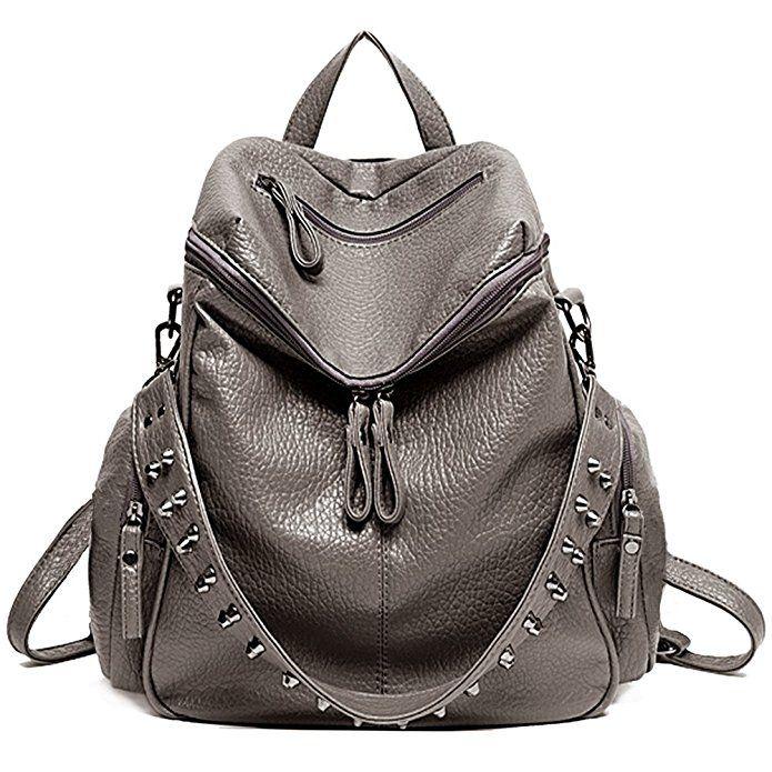 0d25fa6f64dd UTO Women Backpack Purse 3 ways PU Washed Leather Rivet Studded ...