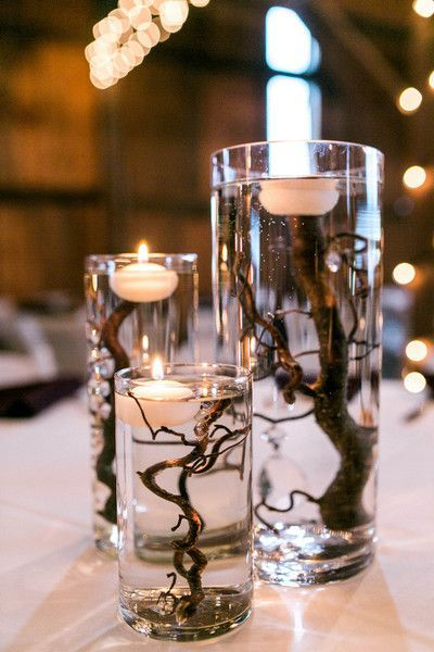 Unique centerpiece idea - glass floating candles with branches {Kate McStay Phot... - #branches #candles #centerpiece #Floating #glass #idea #Kate #McStay #phot #unique #barnweddings