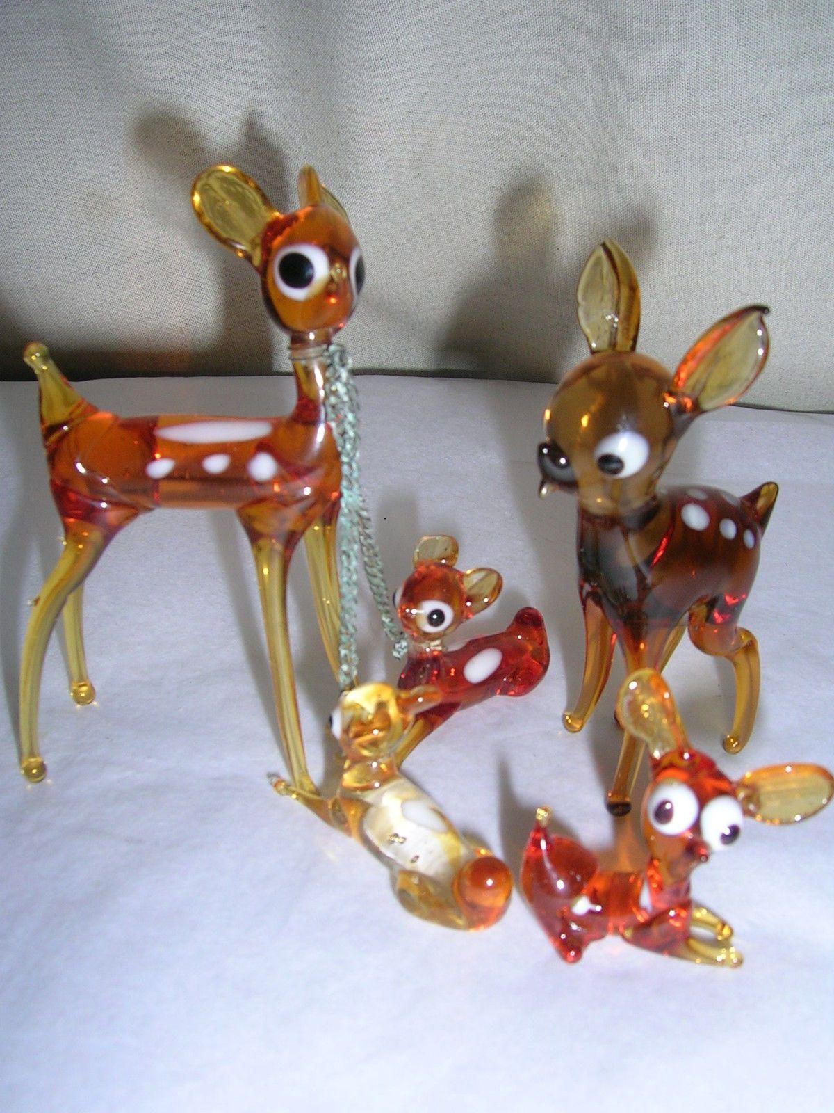 Vintage Retro Murano Five X Glass Bambi Deer Figurines Ornaments Ebay Vintage Kitsch Retro Vintage Retro