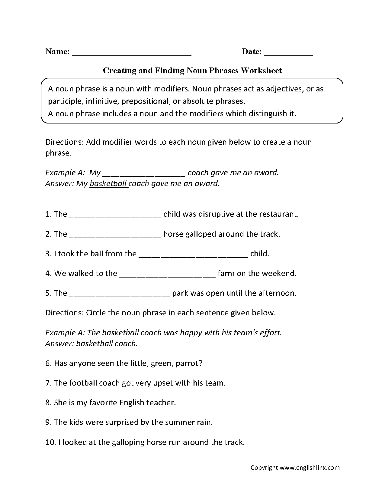 Creating And Finding Noun Phrases Worksheets