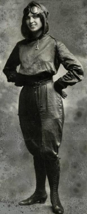 "1911 - Miss Harriet Quimby, writer for the women's fashion magazine, ""Leslie's Weekly"" poses in a flying costume she designed."