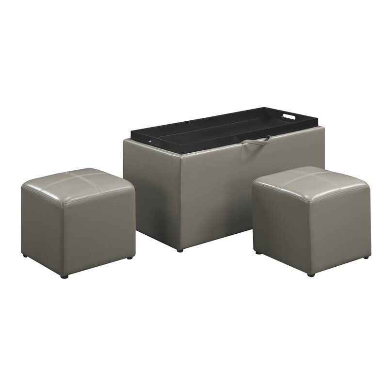 Marla 3 Piece Ottoman Set Leather Storage Bench Convenience Concepts Leather Storage Ottoman