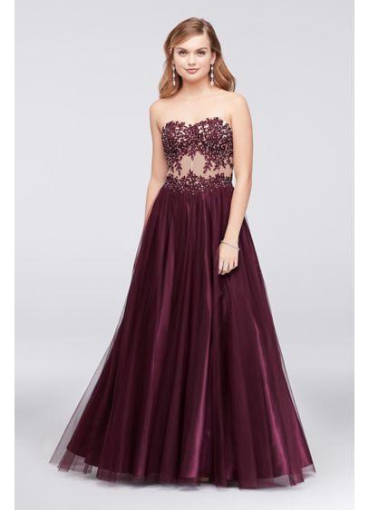 Lace Applique Illusion Evening Dresses