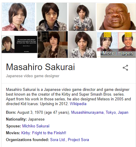 Months Later Google Algorithm Is Still Fooled By Masahiro Sakurai Video Game Design Japanese Video Games Super Smash Bros