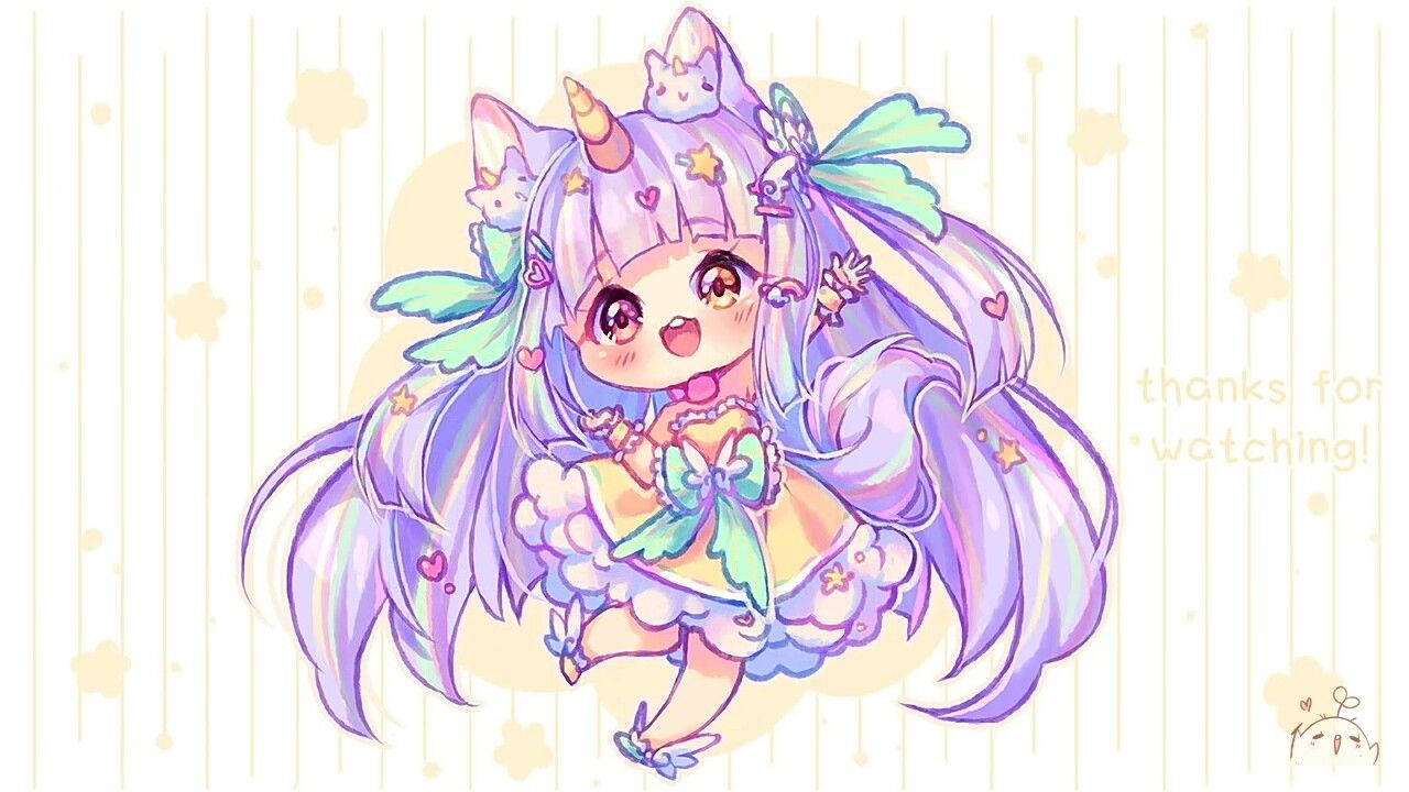 Purple Unicorn Girl Cute anime chibi, Chibi unicorn, Chibi