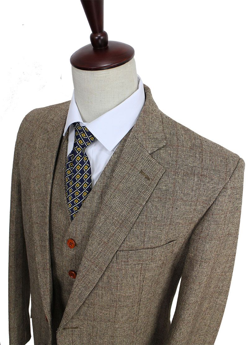 finest selection cd75c 755ad Günstige Retro gentleman stil Braun Check Tweed nach maß ...