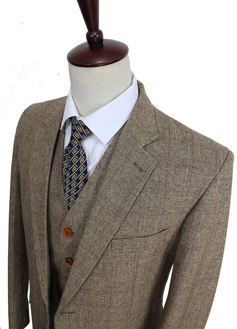 retro gentleman stil braun check tweed nach maß slim fit