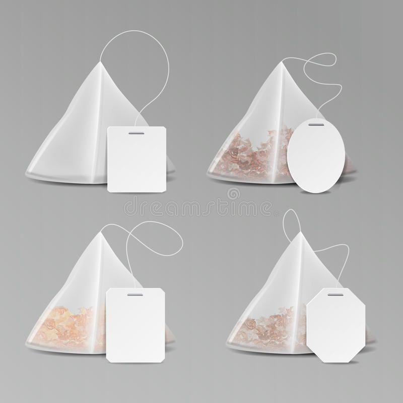 Download Pyramid Shape Tea Bag Set Mock Up With Empty Square Tea Bag Art Tea Bag Tea Illustration