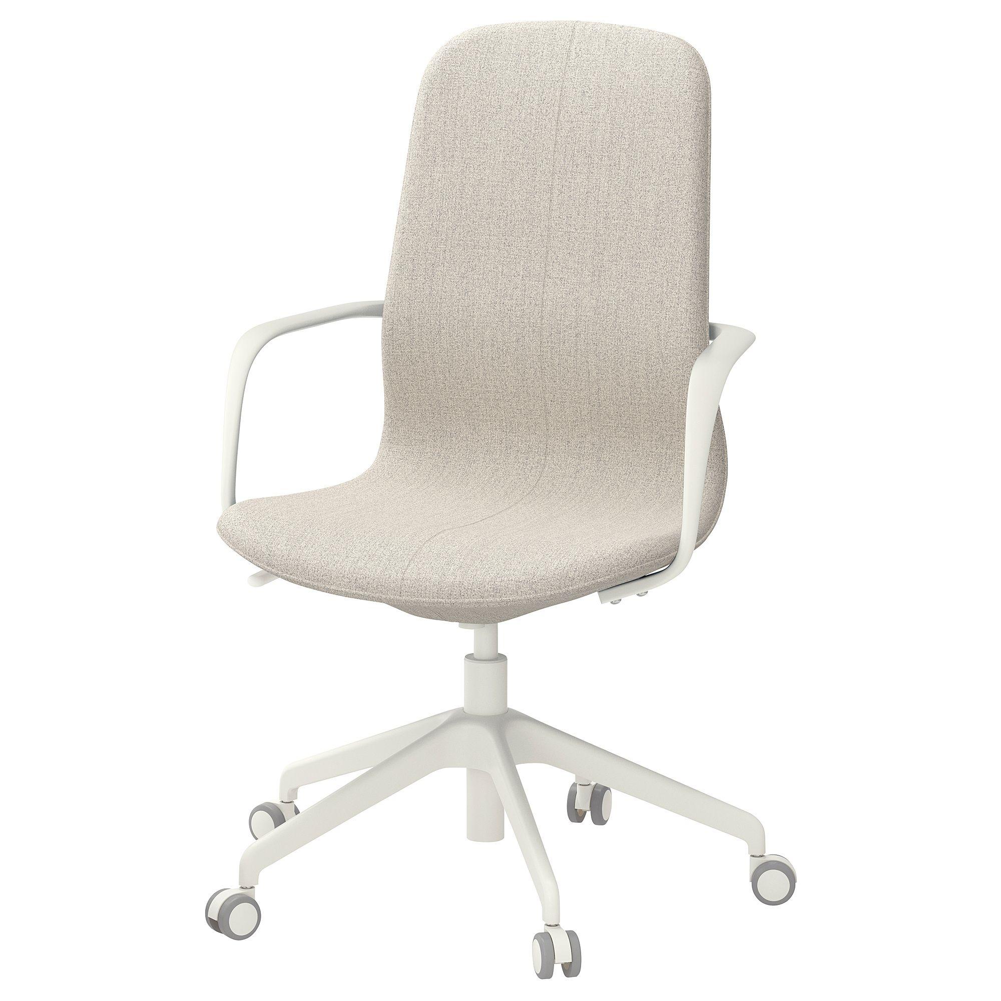 IKEA LÅNGFJÄLL Office chair with armrests Gunnared beige
