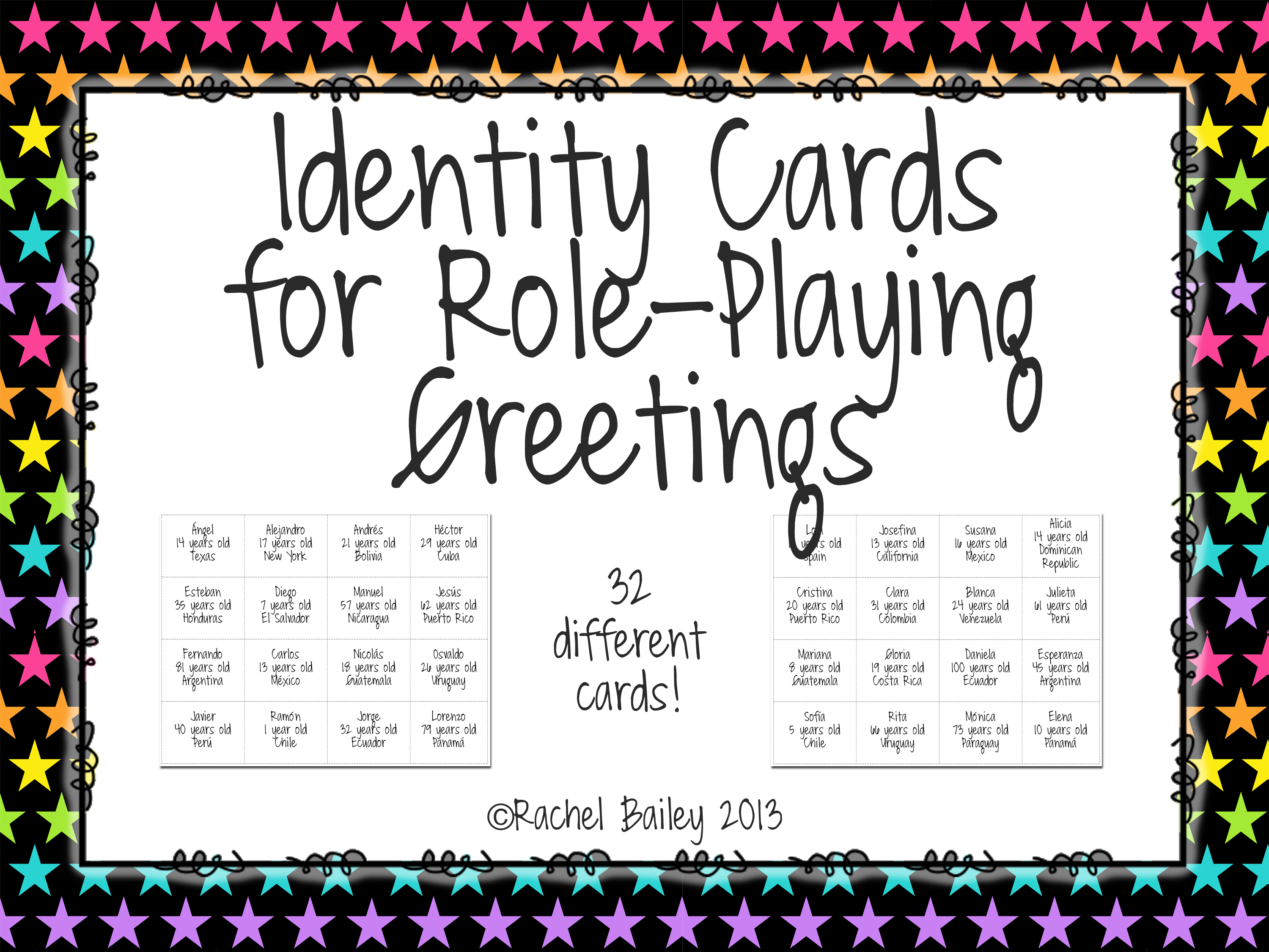 Identity Cards For Role Playing Greetings Los Saludos In