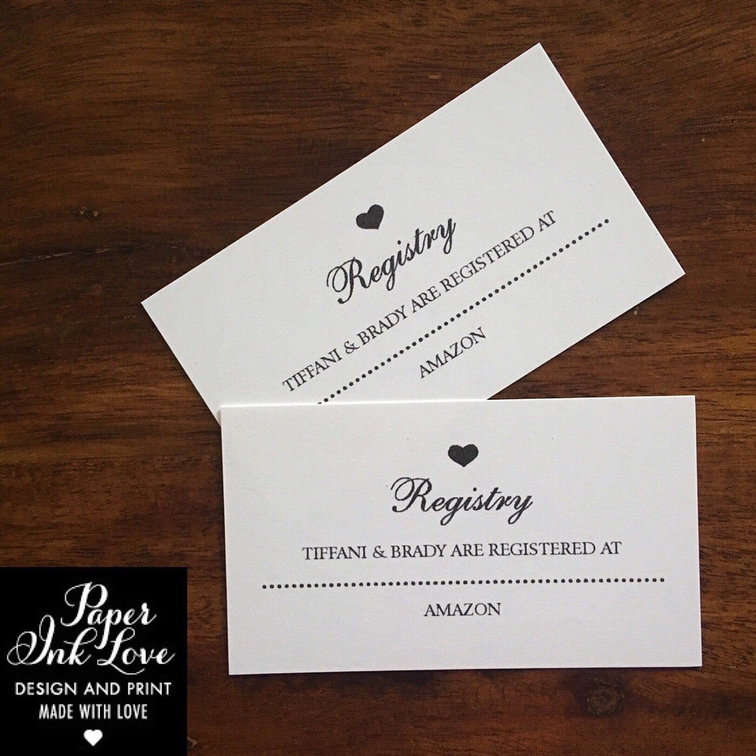 Wedding Website Enclosure Card / Invitation Inserts with