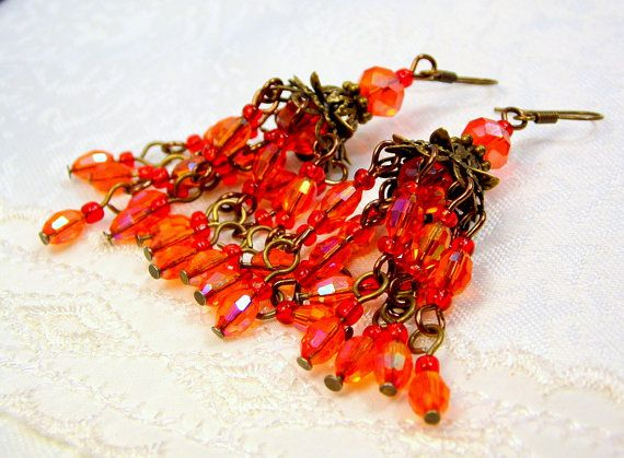 Chandelier Earrings With Oval Transparent Red Glass by juta230