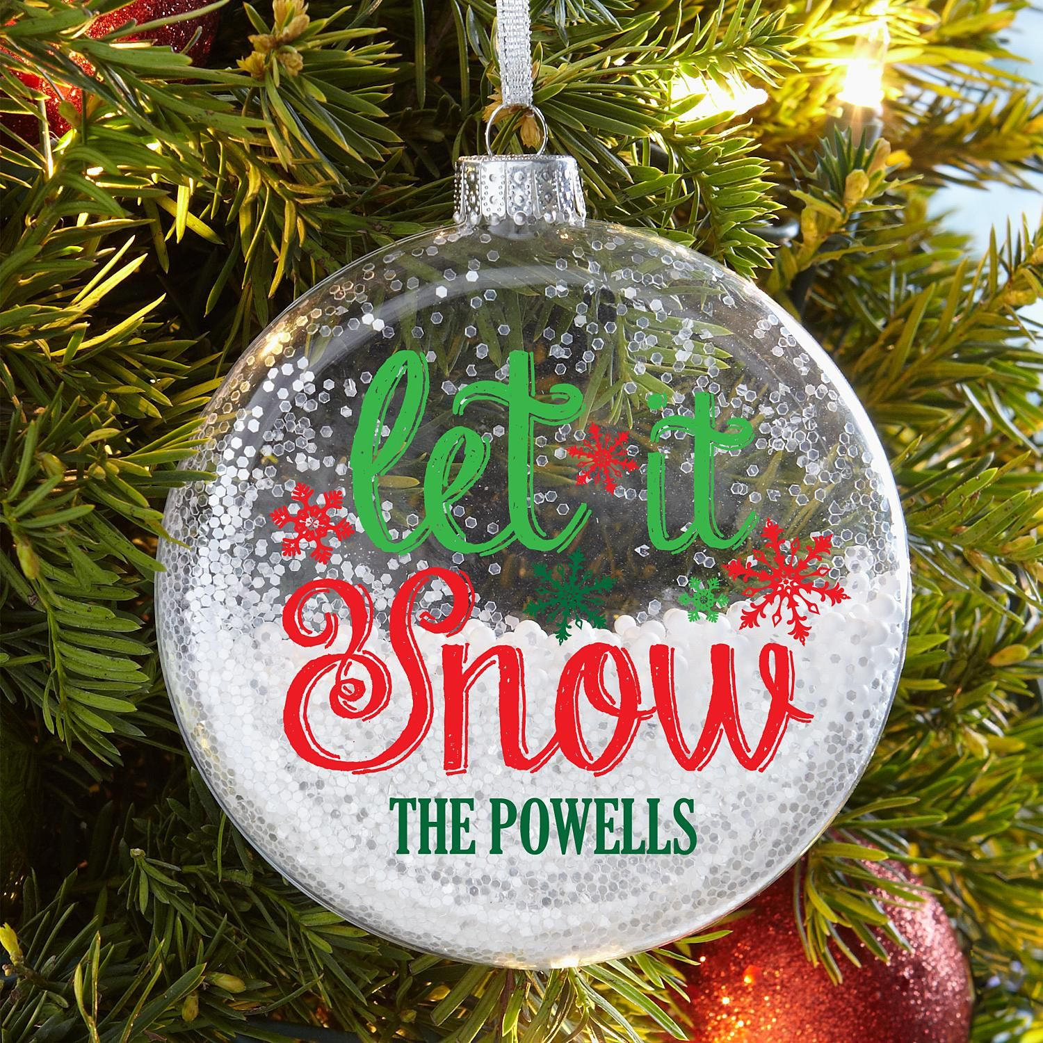 Personalized Let it Snow Glitter Glass Ornament Personal