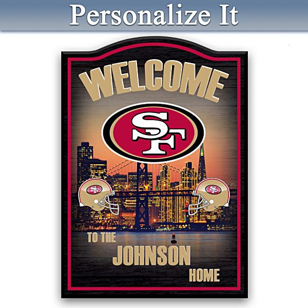 49ers Wooden Welcome Sign Personalized With Name ...