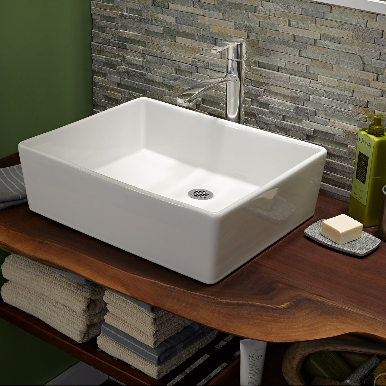 Bathroom Sinks Loft Above Counter Sink Less Faucet Hole White