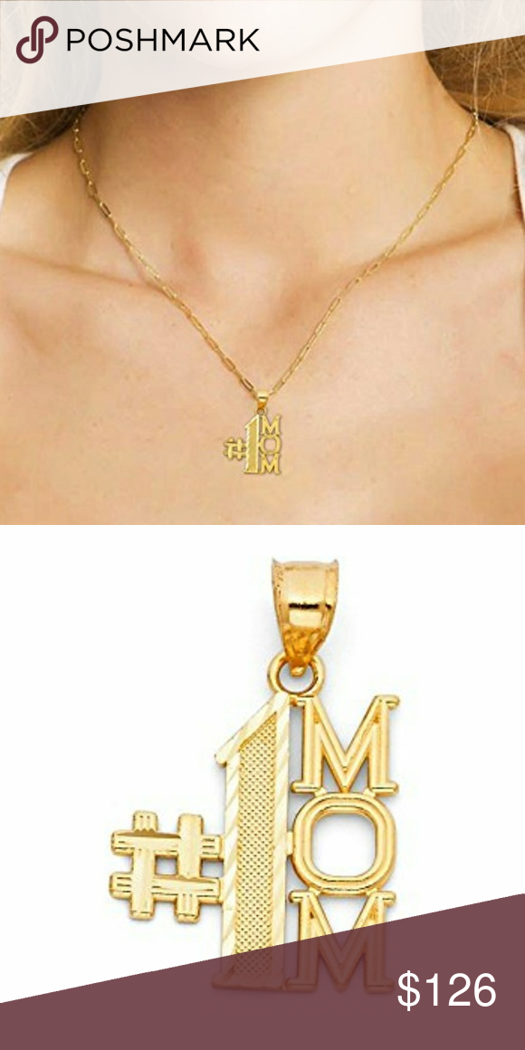 1 Mom Pendant In 14k Solid Yellow Gold Charm Gold Charm Pendant Great Mothers Day Gifts